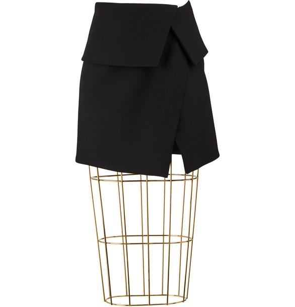 BALMAINAsymmetrical Wool Short Skirt
