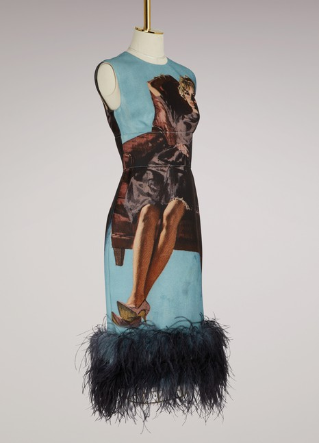 Prada Printed feathered dress