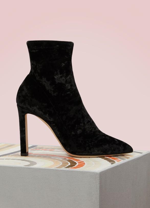 JIMMY CHOO. JIMMY CHOO Louella 100 Velvet Ankle Boots