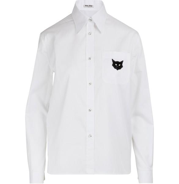 MIU MIUCats patch shirt