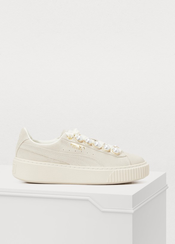 detailing ever popular matching in colour Platform Bling pearl sneakers