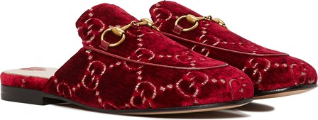 Gucci Princetown Horsebit-Detailed Logo-Jacquard Slippers In Red