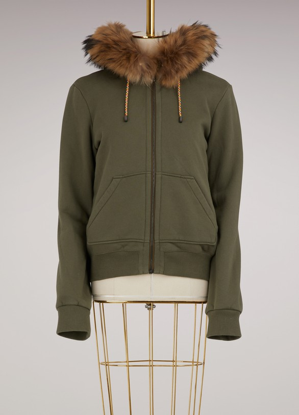 Yves Salomon - Army Sweat jacket with raccon