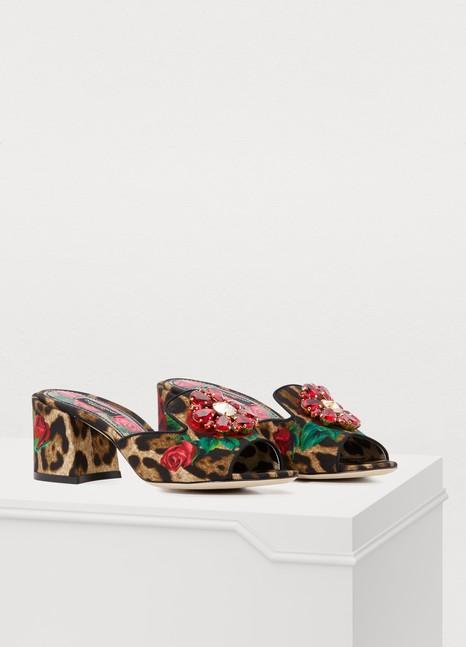 Dolce & GabbanaMules léopard et roses