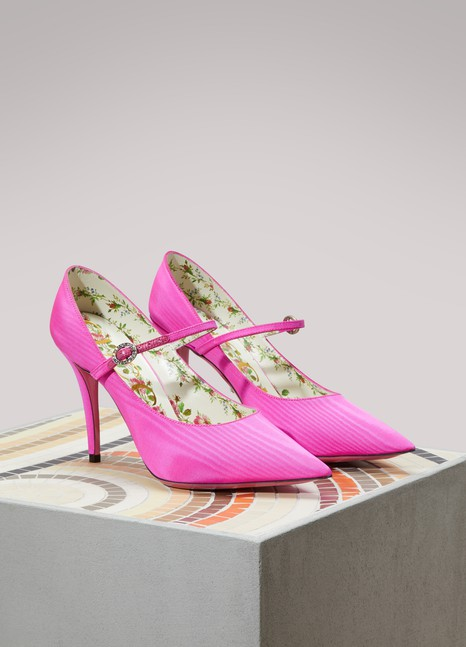 Gucci Mary Jane satin pumps