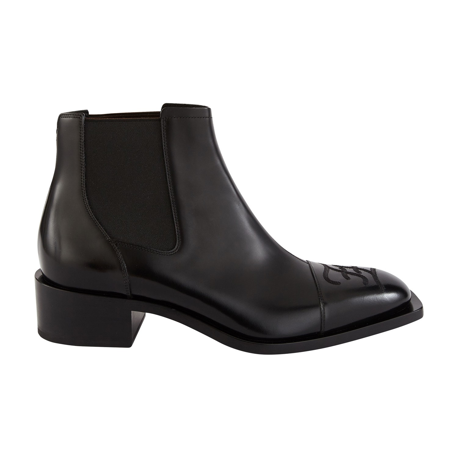 Fendi Men's Embroidered Ff Logo Leather Chelsea Boots In F1Os5