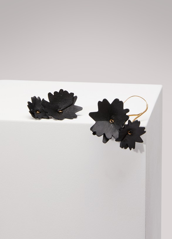 Marni Leather and Brass Earrings