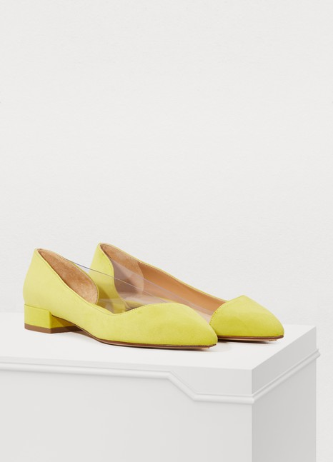 Francesco Russo Asymmetric suede and PVC ballerinas