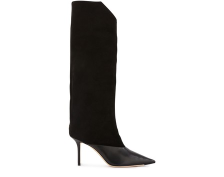 Jimmy Choo Brelan 85 Black Calf Leather And Suede Knee-High Boots In Black Black