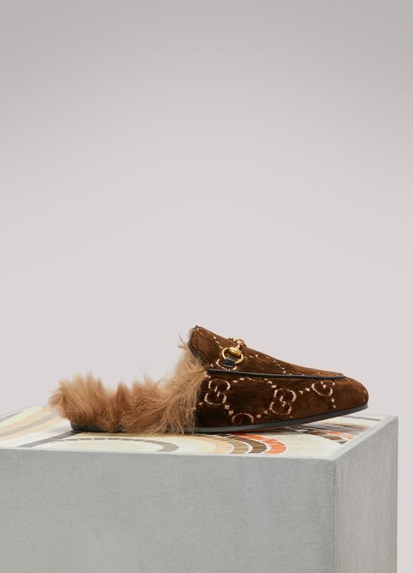 4c4f11936 Women's Princetown GG velvet slipper | Gucci | 24S | 24S