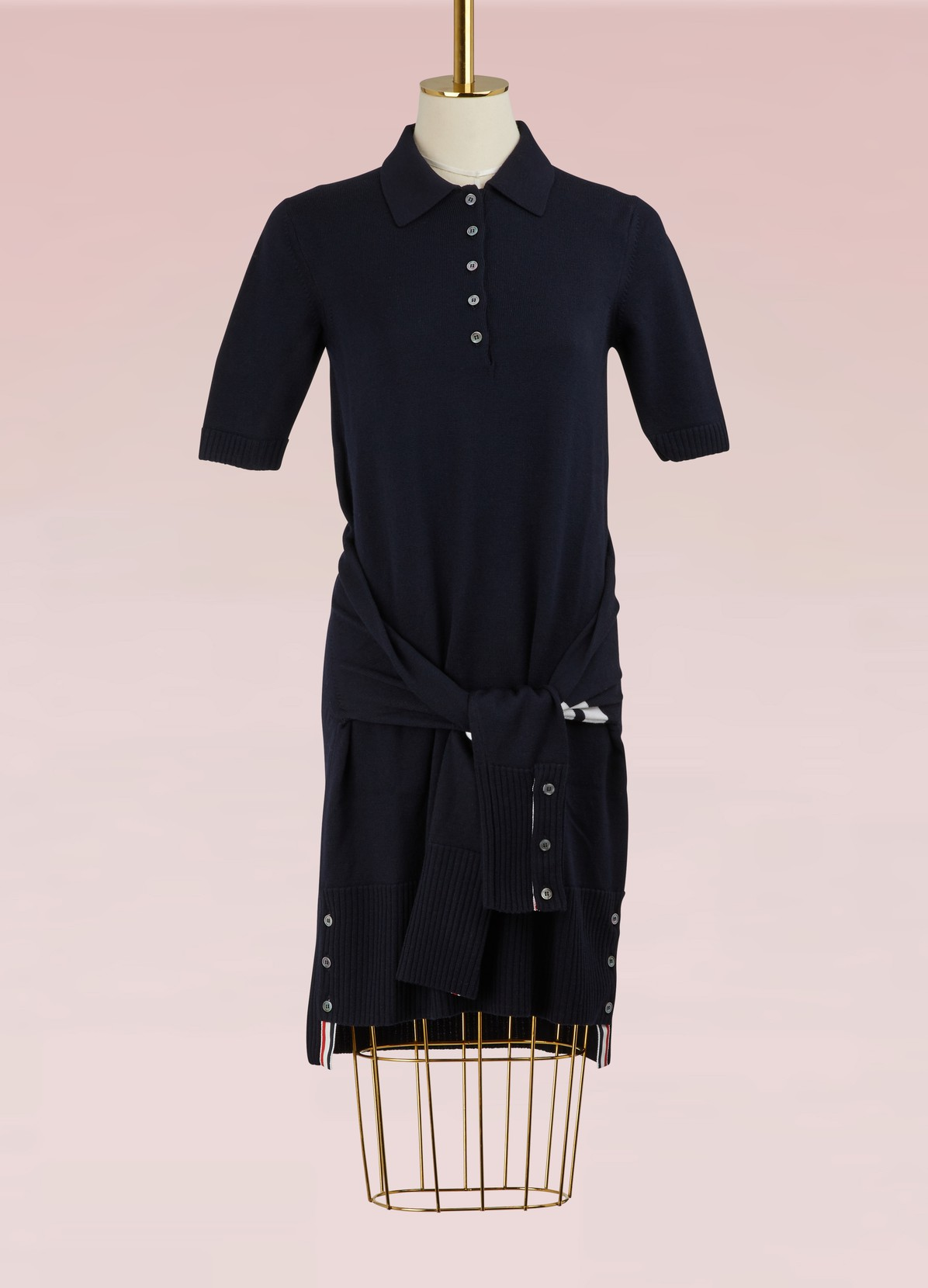 2 in 1 wool cardigan polo dress | THOM BROWNE | 24 Sèvres