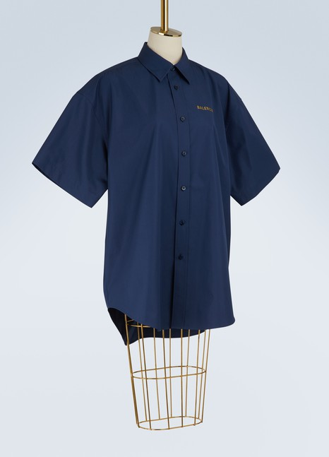 Balenciaga Short-sleeved poplin shirt