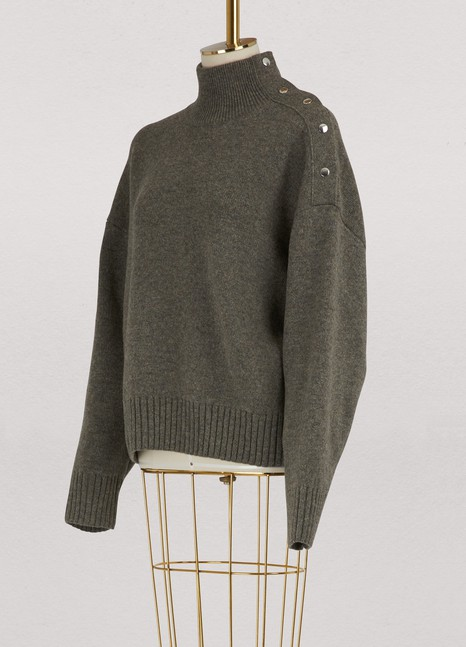 CELINEHigh neck sweater in double face Shetland cashmere