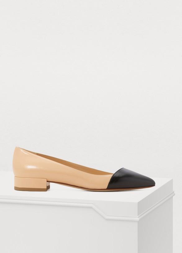 Francesco RussoTwo-tone rounded-toe flat ballerinas