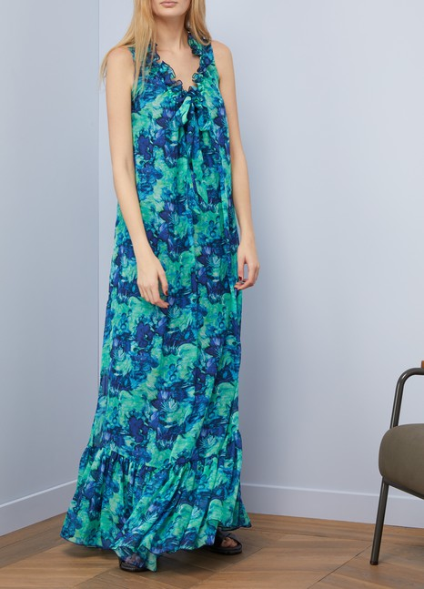 Georgette silk printed long dress Lanvin 7q5zxpqf