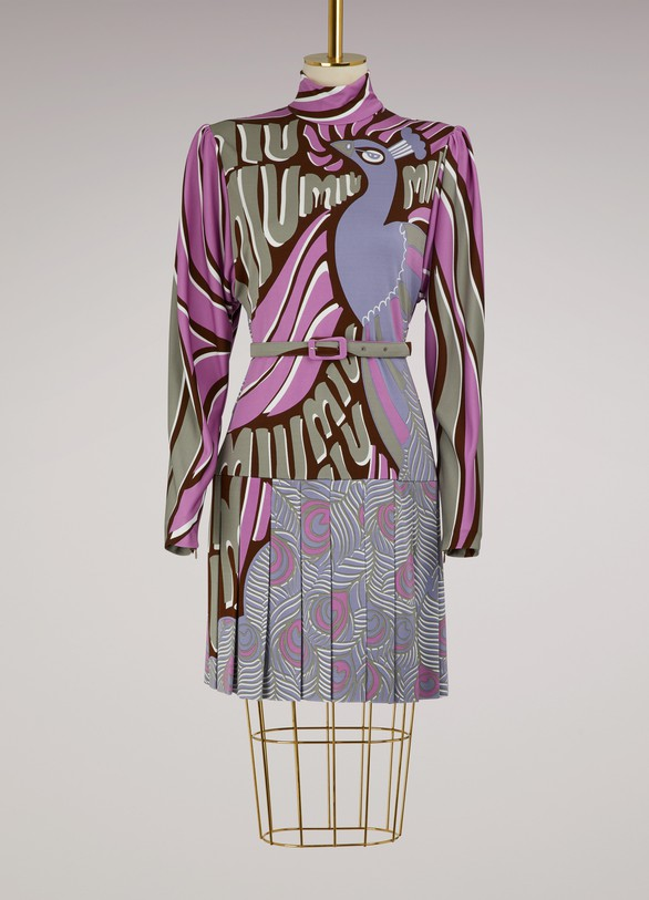 Miu MiuRobe courte imprimé Peacock