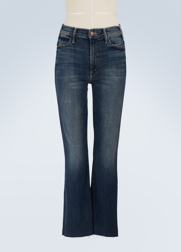 Mother The Hustler high-waisted cropped flared jeans