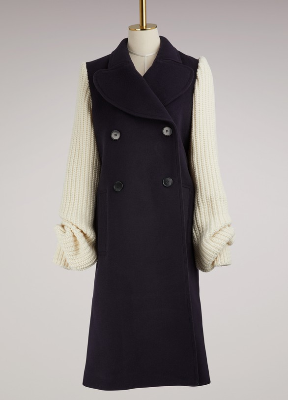 JW Anderson Knit-Sleeved Wool Coat