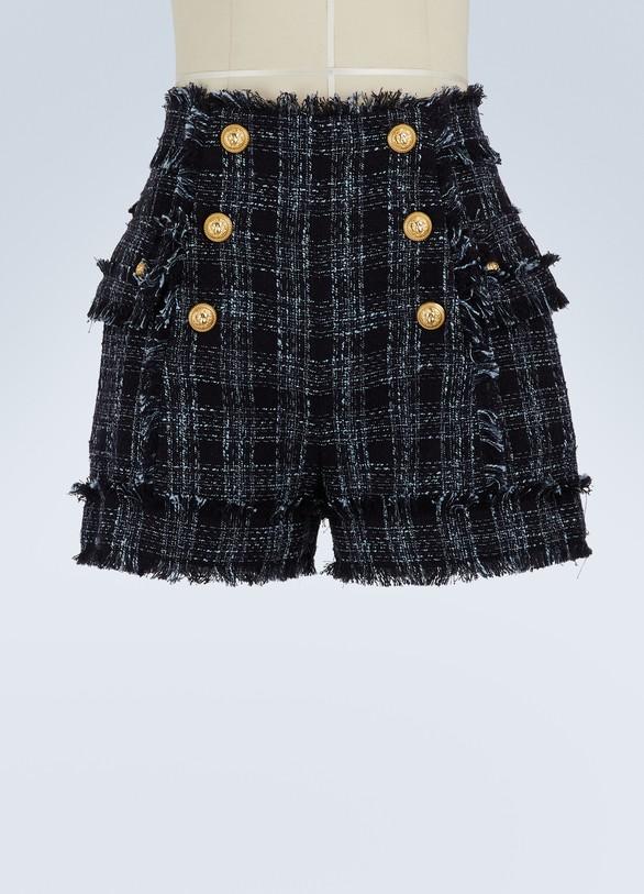 BalmainShort taille haute en tweed