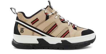 Burberry Men's Union Icon Stripe Mesh & Leather Sneakers In Neutrals