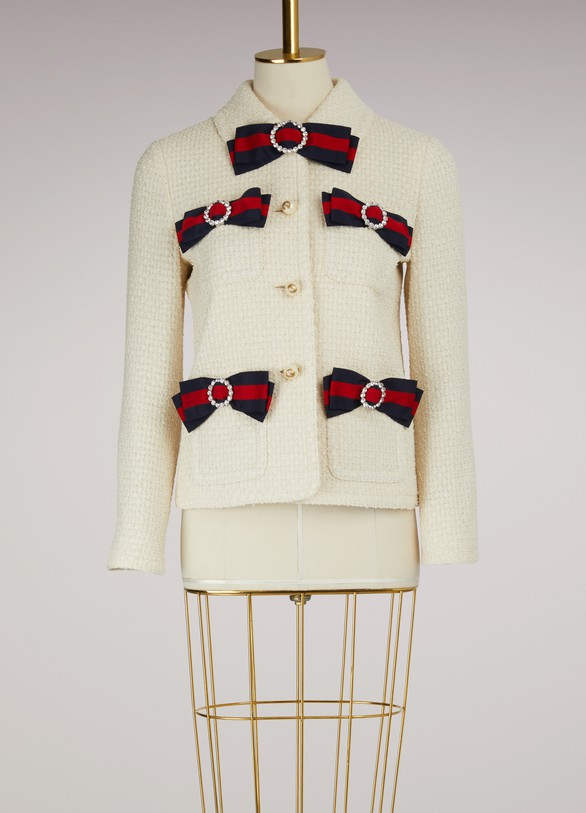 Gucci Tweed Jacket with Web Bows
