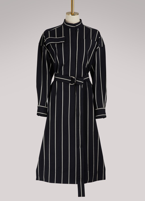 Céline Belted dress with wide stripes