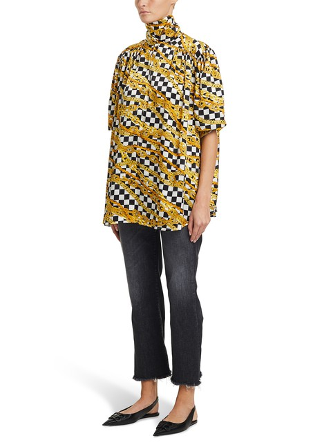 BALENCIAGAGold Chains Light short-sleeved silk shirt