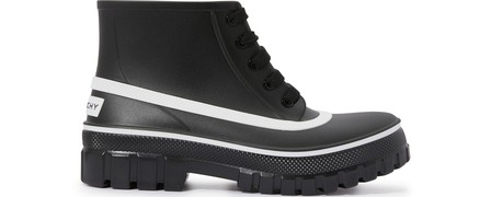 Givenchy Black Glaston Flat Lace-Up Leather Ankle Boots