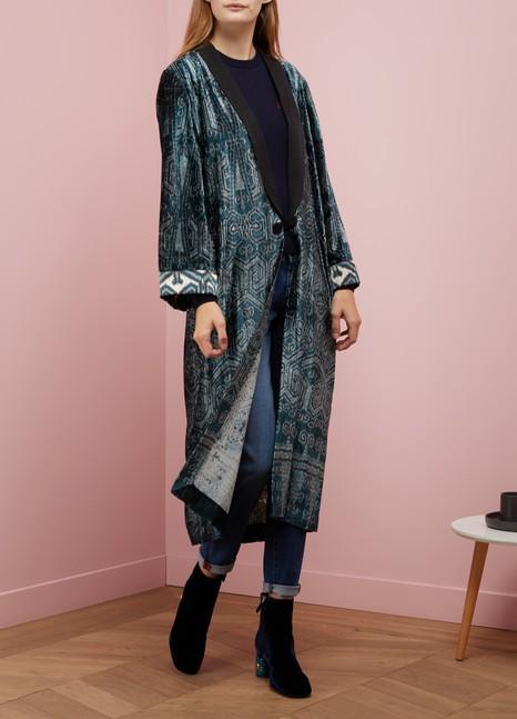 Forte_ForteIkat print velvet kimono