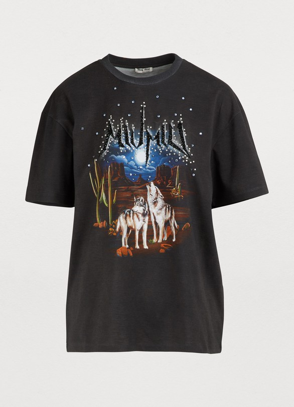 Miu MiuT-shirt Miu Miu à strass