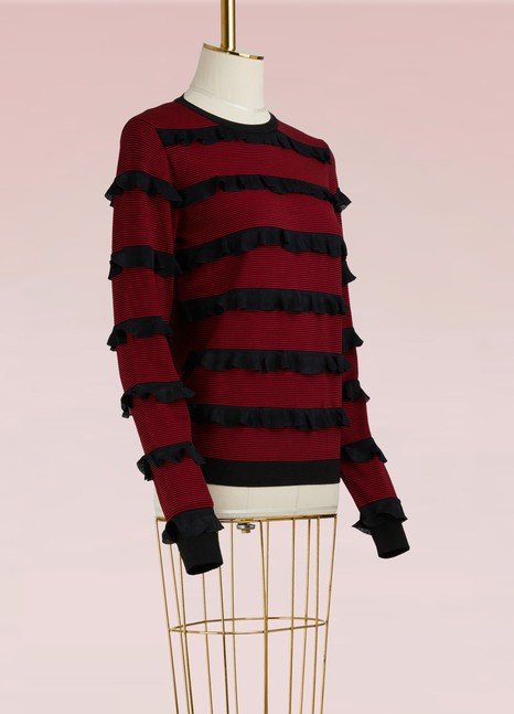 Red Valentino Knit Sweater with Ruffles