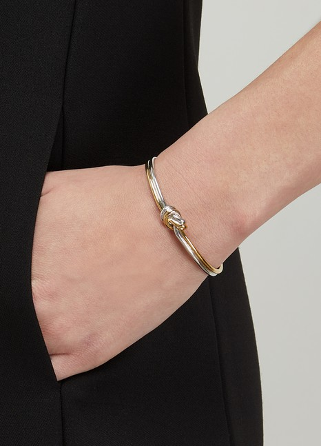 CELINEKnot double bracelet in gilded brass and rhodium