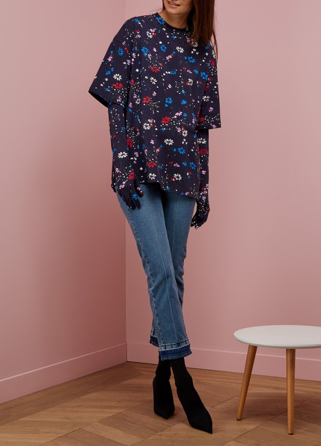 BALENCIAGAT-shirt & gants Fleurs de nuit