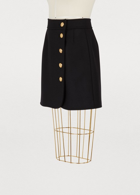 Red Valentino Wool skirt with gold buttons