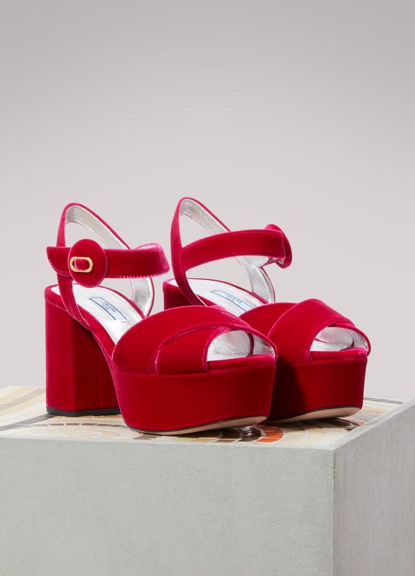 b20ea4e2f ... Prada Velvet platform sandals ...