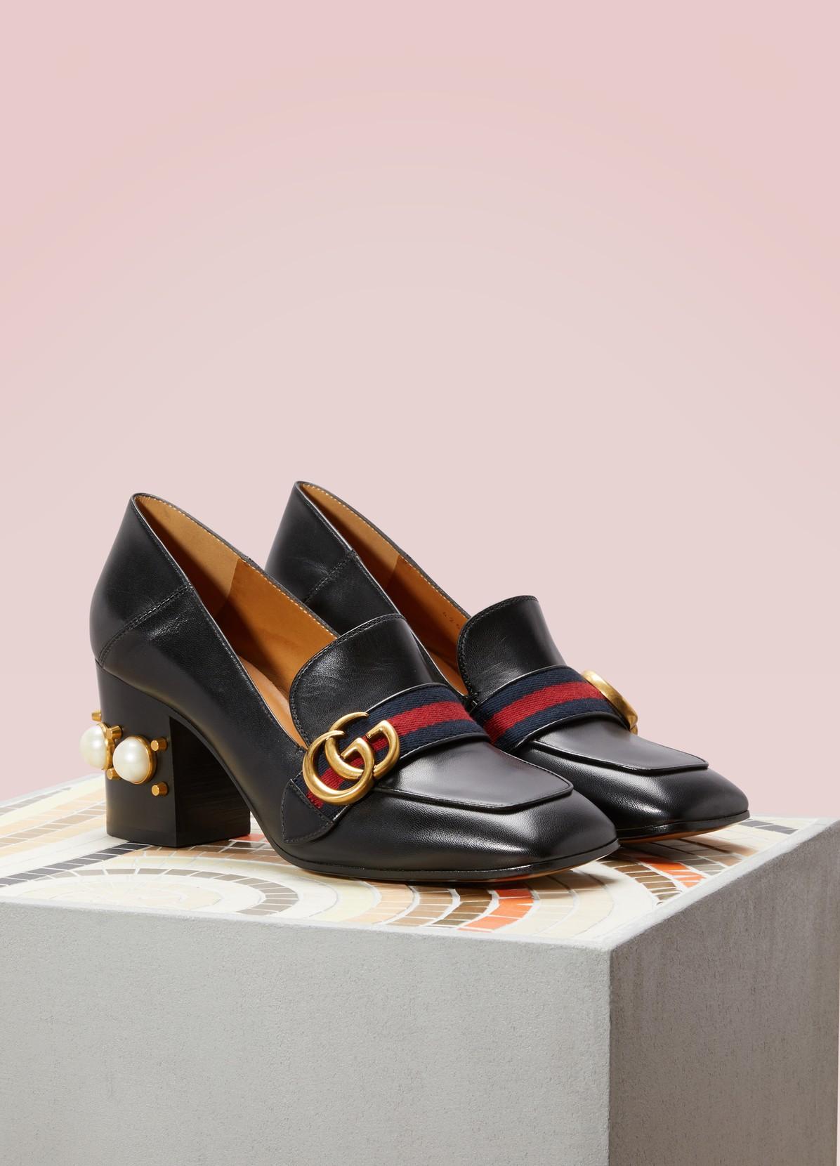 79ac7aeb Leather mid-heel loafer