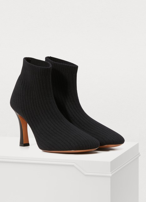 CelineGlove Bootie cashmere-knit sock ankle boots