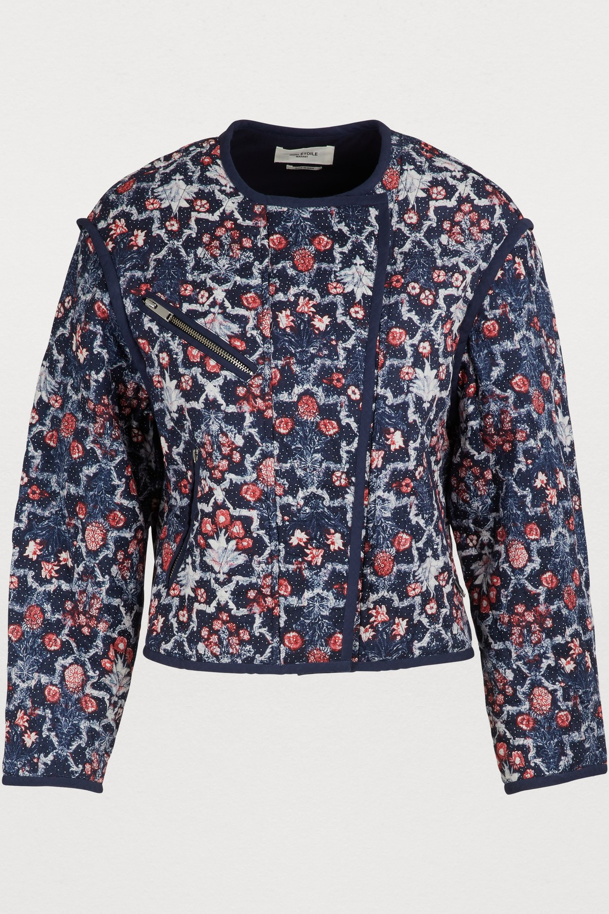Manae Floral Quilted Linen Moto Jacket in Midnight