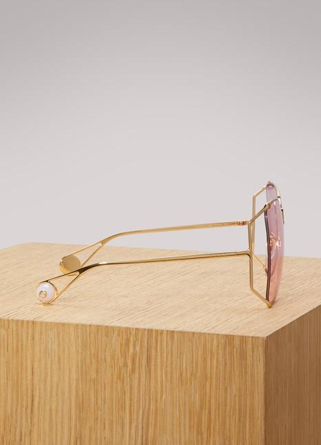 GucciOversized round-frame metal sunglasses
