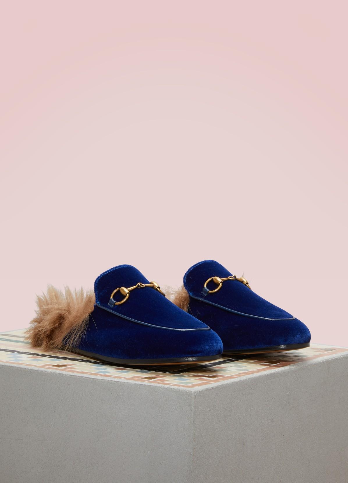 Gucci Mules En Velours Bleu Princetown - 0MeB4