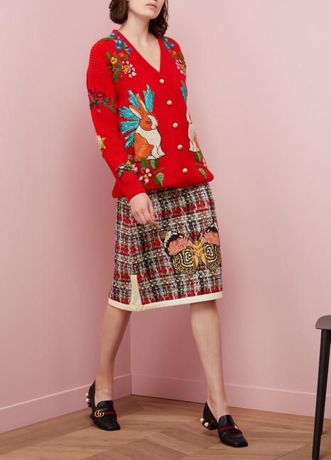 GucciOversize Embroidered Wool Cardigan