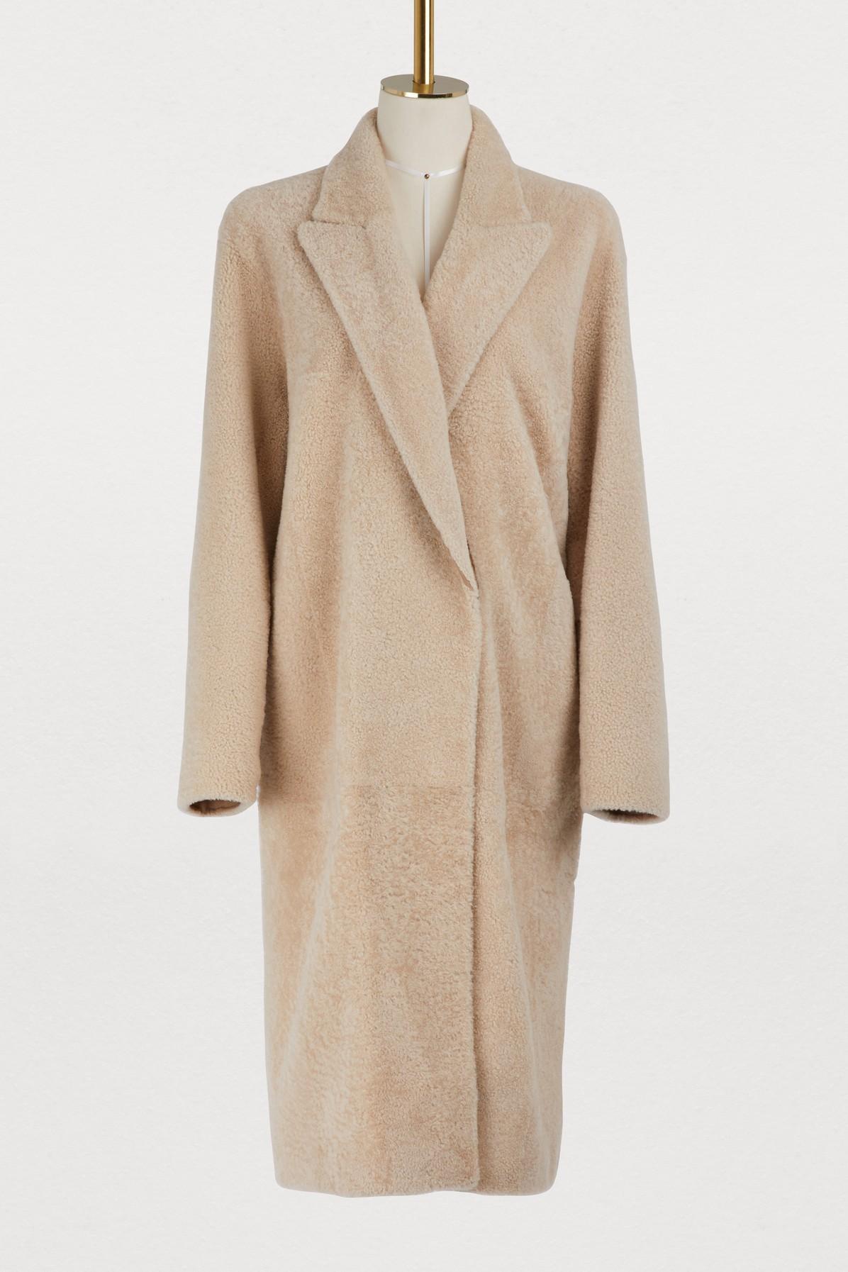 Manteau long en shearling