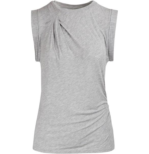 MAJESTICDraped sleeveless crew neck top