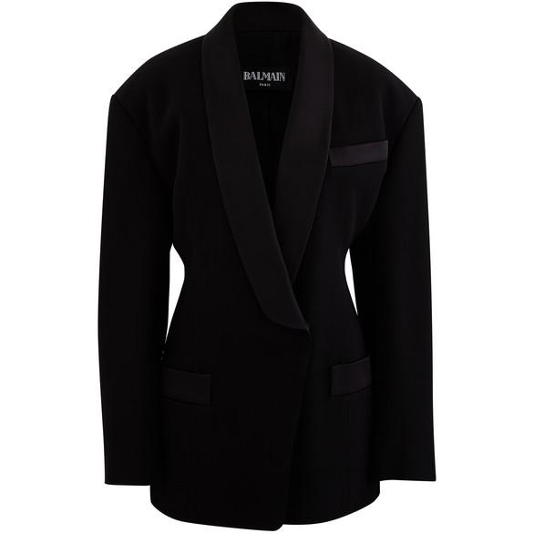 BALMAINDouble breasted crepe jacket