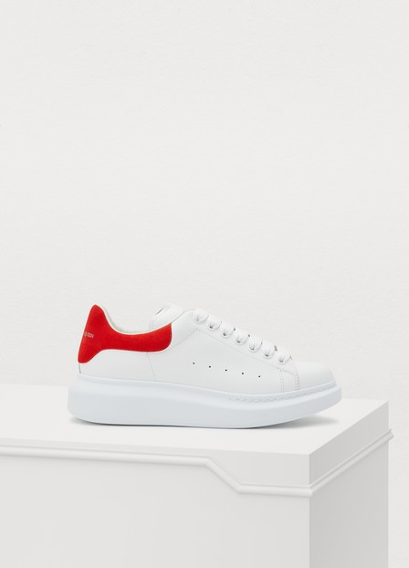 Alexander Mcqueen Runway Leather And Suede Platform Trainers In 9676 - White/Lust Red