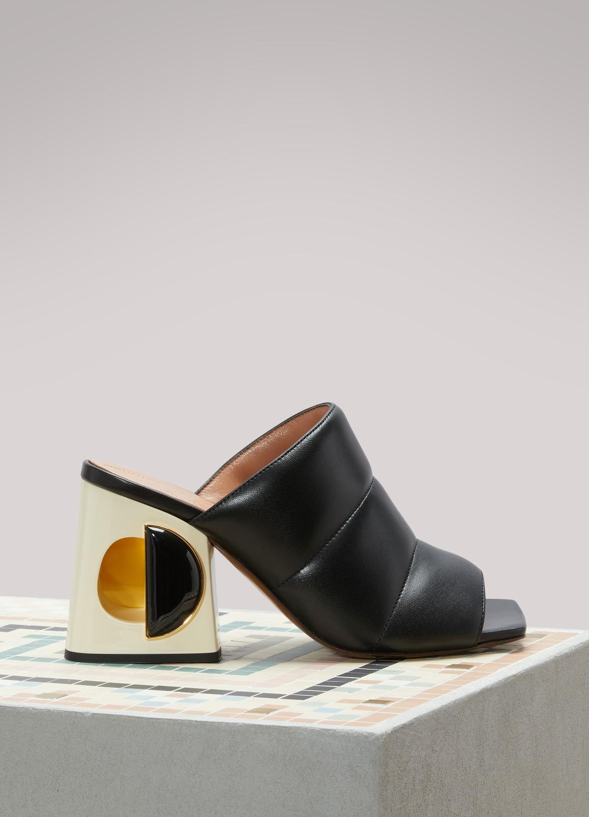 High heel black leather mules