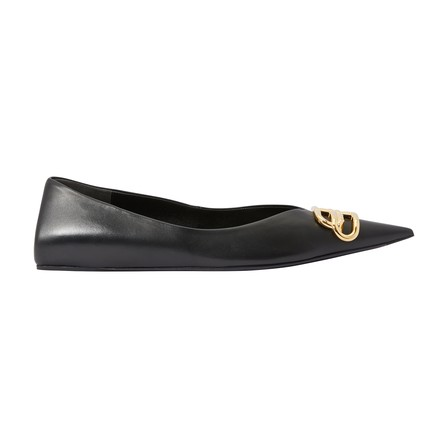 Balenciaga Square Knife Logo-Embellished Leather Point-Toe Flats In 1000