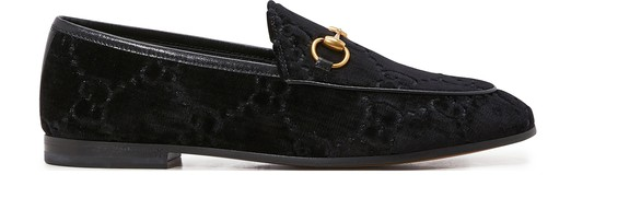 GUCCI Gucci Jordaan GG velvet loafers