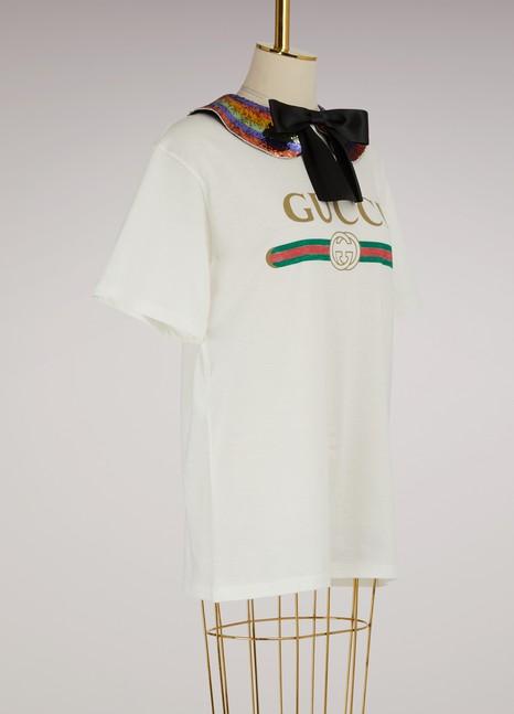 GucciGucci print collared cotton t-shirt