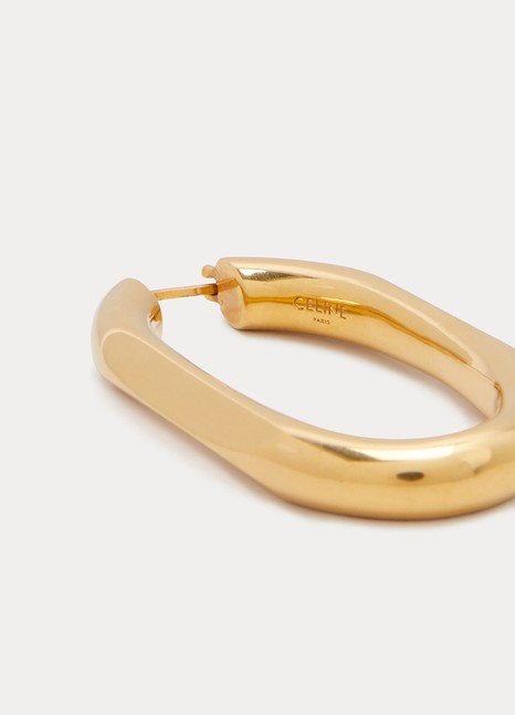 CelineTriomphe large chain hoop earrings in brass with vintage gold finish